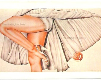 "Vintage Drawing by Clotilde NADEL- ""SWEET LOOK ""- french illustrator 1980 -Beautiful Legs & Shoe- pleated Dress in the Wind- Good condition"