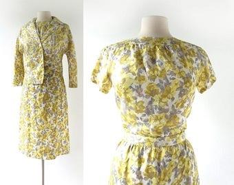 60s Floral Suit | 1960s Suit | Skirt Suit | XS