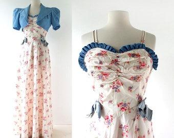 Vintage 1930s Gown | Jezebel | 30s Dress | XS S
