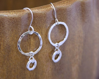 Hammered Hoop Sterling Earrings, Fine Sterling Silver