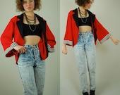 Striped Kimono Jacket Vintage 80s Red + Black + White Slouchy Draped Tuxedo Kimono Jacket (s m l)