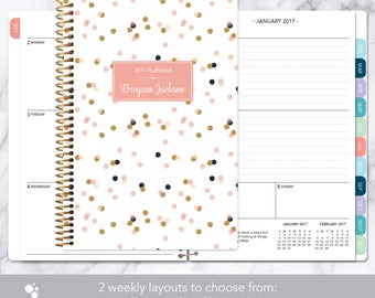 weekly planner | 2017-2018 12 month calendar | add monthly tabs student planner | personalized planner agenda daytimer | pink gold confetti