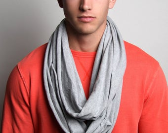 Heather Gray Scarf, Gray Scarf, Men's, Women's, Soft, Jersey Cotton