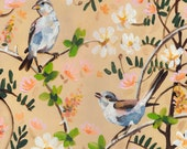 birds and flowers- original acrylic painting on mdf  - wall art- wall decor- white flowers -Still Life Painting- folk art