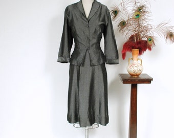 Vintage 1950s Dress Set - Glimmering Pewter 50s Peplum Suit in Seersucker Texture with Asymmetric Accents