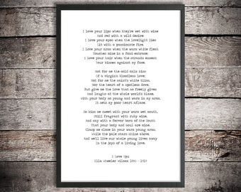 Ella Wheeler Wilcox Printable Love Poem 'I Love You' Instant Download Passionate Poetry Poster Romantic Gift American Writer Poem Print
