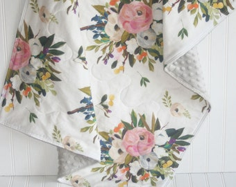 baby girl quilt- baby quilt- floral baby quilt -floral blanket-minky baby quilt- boho baby bedding -crib bedding- watercolor baby bedding