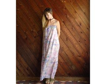 Pink Sheer Floral Hippie Boho Maxi Ribbon Dress - Vintage 70s - XS S