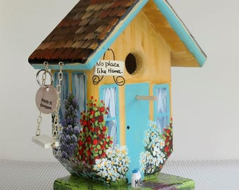 Post Birdhouse ,Yellow and Turquoise ,  Handmade , Hand Painted, with a Sign  , a Swing and a Delivery of Milk Bottles and a Clean Out