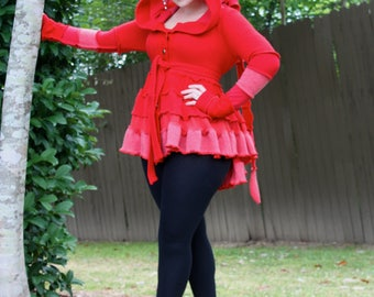 Poppy Red Bustle Coat- Upcycled Sweater Coat with a Medieval Liripipe Hood and Arm Warmer Sleeves- by SnugglePants