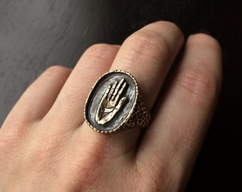Hamsa Signet Ring - available in Bronze or Sterling Silver - by Jamie Spinello , made in Austin, Tx