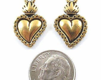 TierraCast Pewter Charms-Gold Flaming Heart Milagro (2)