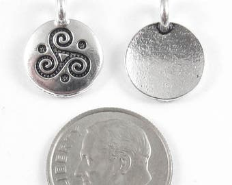 TierraCast Pewter Round Triskele Charms-Silver Triple Spiral 12x16mm (2)