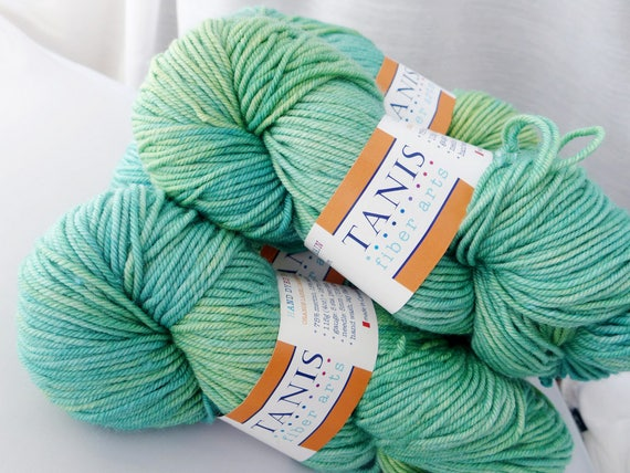 Tanis Fiber Arts Orange Label Cashmere Silk Worsted -  Spearmint  - Green Blue Mint Superwash Merino Sport Weight Yarn