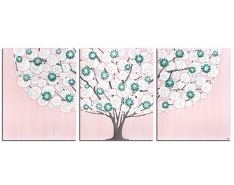 Nursery Canvas Art for Baby Girl - Pink and Teal Tree Textured Painting Triptych - Large 50x20