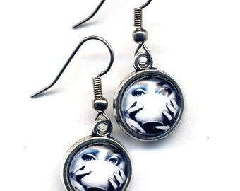 Fornasetti Earrings, Stainless Steel Earrings, Girl with a Tea Cup Earrings, Surgical steel Black White Art image Earrings, Fun Earrings