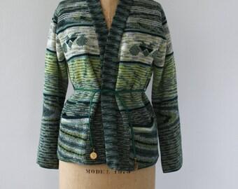 vintage 1970s sweater / 70s green sweater / 70s space dye sweater / 70s striped cardigan / 70s hippie boho sweater / medium large xl