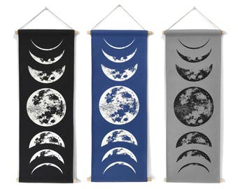 Moon Tapestry, Moon Phases Wall Art, Lunar Phases Wall Art, Moon Phase Tapestry, Moon Wall Hanging, Boho Decor, Space Art, Boho Chic Decor