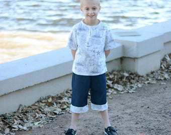 New Release~ Summer Nautical Boys Slate Woven Top and Cuffed Denim Shorts outfit available in sizes 12 mos up to boys size 8/10 beach cruise