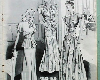 The Haslam System of Dresscutting Illustrated Book of Draftings No. 23 vintage 1940s dressmaking patterns original sewing book 40s fashions