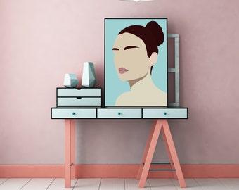"Modern, Minimal Portrait ""Amelia"" by Jules Tillman - Fine Art Lustre Print minimal woman abstract portraiture art dusty aqua and brown art"