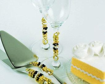 Nautical wedding cake server knife gold navy white champagne flutes toasting wedding reception decor cake table gift bridal quinceanera