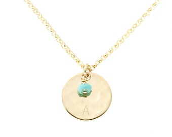 Birthstone necklace - gold disc necklace - turquoise necklace - bridesmaid jewelry initial - delicate gold jewelry - minimalist necklace