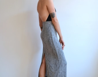Vintage 90's Grey Snakeskin Pencil Midi Skirt/ High Slit/ Small
