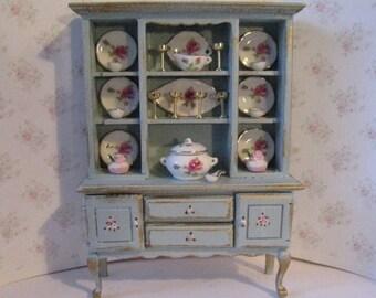 Dollhouse  Dresser, Dining room dresser, decoratged dresser, tatty chic,duck egg blue, rosebuds , twelfth scale, a dollhouse miniature