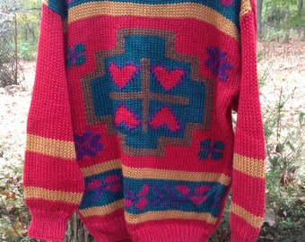 Vintage 1980s cozy red heart sweater, size medium