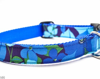 Blue Turquoise Purple Flower Dog Collar / Bluebelle/ Martingale or Buckle / Floral Dog Collar