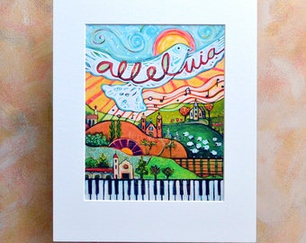 Sing Alleluia! Musical Landscape Art Print with piano, guitar, churches an a flying dove.