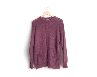 SALE // Size M // MOHAIR SWEATER // Maroon - Fuzzy - Oversized - Grunge - Pockets - Vintage '90s.
