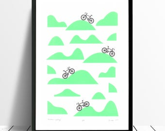 Mountain Cycling Screen Print (Retro Mint) A3 size