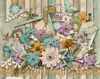 MID WINTERS DREAM - Digital Scrapbooking Kit - 19 Papers and 60 Plus Elements - Digital Papers - 12 x 12 - 5.00