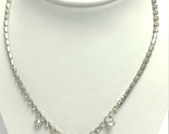 Clear Rhinestone Cup Chain Necklace with Pear Drop Focal for Wedding Prom Formal #B311