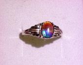 Ammolite/Ammonite Sterling Silver Leaf Ring