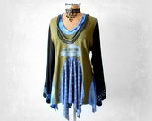 Long Tunic Top Green Bohemian Top Recycled Up Cycle Camper Shirt Long Bell Sleeves Hippie Clothing Lagenlook Clothes Art To Wear L 'ANDREA'