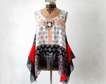 Bohemian Tank Top Flowing Blouse Lagenlook Clothing Artsy Smock Top Women's Layered Shirt Boho Clothes Burning Man Festival M L 'FINOLA'
