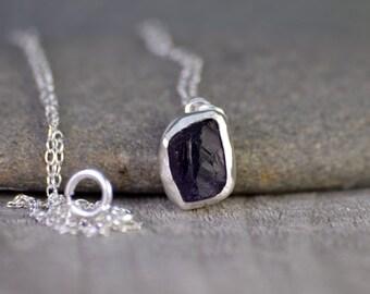 raw amethyst necklace in Indigo, February birthstone, 2.10ct raw amyethyst necklace, amethyst gift