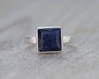 sapphire engagement ring in midnight blue, 5.40ct blue sapphire wedding gift, something blue gift, handmade in the UK