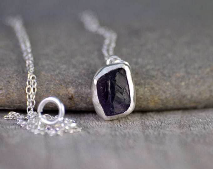 raw amethyst necklace in Indigo, February birthstone, 2.10ct raw amyethyst necklace, amethyst gift