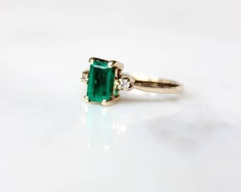 Antique Engagement Ring | Vintage Emerald Green Ring | Diamond Accent 14k Yellow Gold Ring | Vintage Wedding Band [The Hendricks Ring]