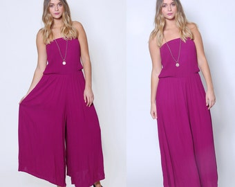 Vintage 90s PLUM Wide Leg JUMPSUIT Strapless Crinkle Jumpsuit Vintage One Piece