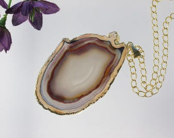 Brown Agate Pendant, Agate Necklace, Crystal Agate Slice, Agate Slice, Gold Plated Agate, APS214