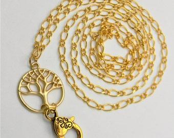 Gold Chain Lanyard - Gold Tree of Life Chain ID Badge Holder, Lanyard, Necklace, Heart Clasp, Teacher Gift, Nurse Lanyard, Flight Attendant