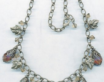 FAB VINTAGE Chain necklace Using  Vintage Swarovski Crystals