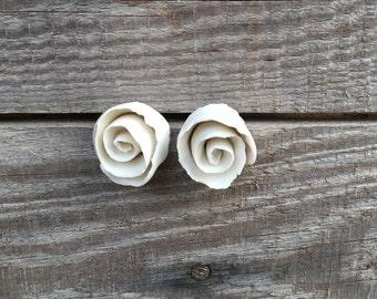 Rose Earrings White porcelain Studs - Earrings
