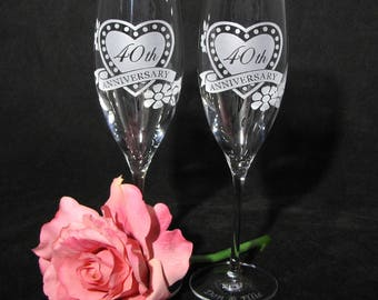 NEW 2 Fine Crystal Champagne Glasses, Personalized Anniversary Gift for Couple