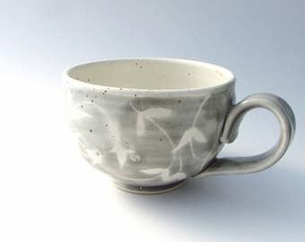 Handmade Stoneware Mug in Storm Cloud Gray and White